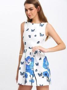 Blue White Sleeveless Floral Jacquard Dress