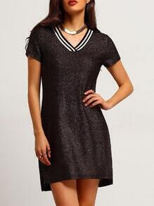 Black Gliter Shift Dress