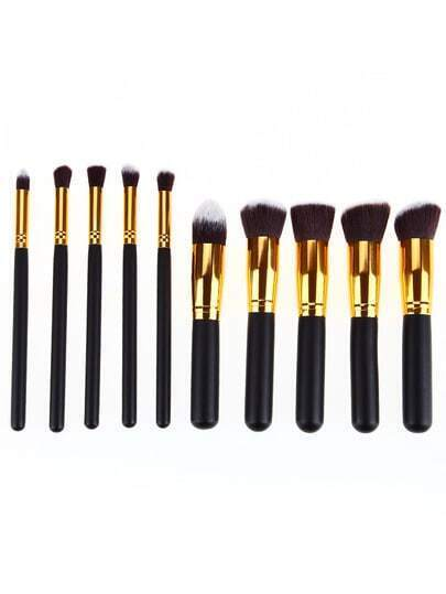 Gold Pro Foundation Blush Blending Eye Shadow Makeup Brush Set Cosmetics Tool
