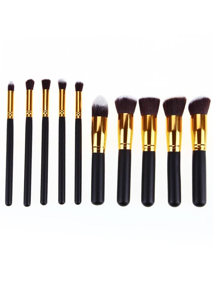 Image of Gold Pro Foundation Blush Blending Eye Shadow Makeup Brush Set Cosmetics Tool