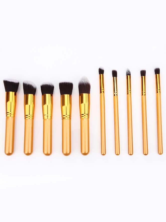 Image of 10pcs Professional Makeup Set Brushes Tools-Gold