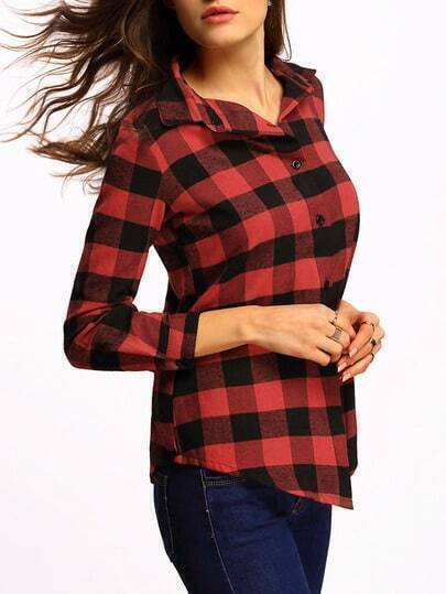Lapel Plaid Red Preppy Appropriately Checkered Blouse