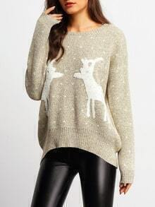 Apricot Round Neck Deer Print Sweater