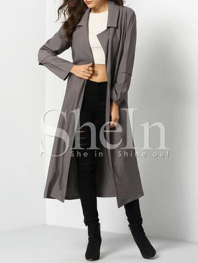 Grey Long Sleeve Pockets Trench Coat