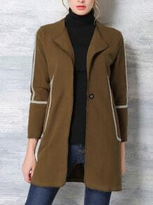 Coffee Long Sleeve Single Button Pockets Coat