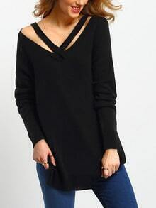 Jersey cut out slit -negro
