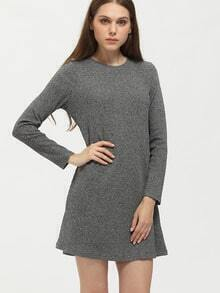 Grey Crew Neck Shift Dress