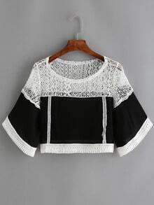 Colour-block Round Neck Lace Crop Blouse