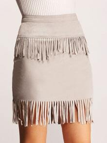 Grey High Waist Fringe Skirt