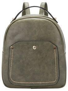 Green Metal Embellished PU Backpack