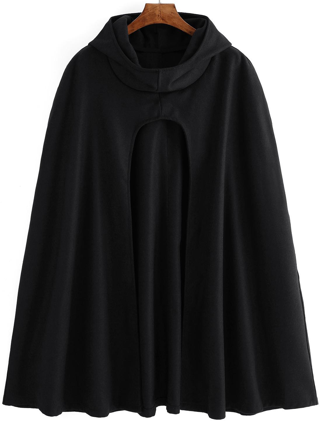 Estremamente Mantella di lana con cappuccio nera-Italian SheIn(Sheinside) ZF61