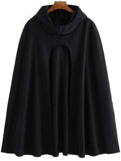 Black Hooded Loose Woolen Cape