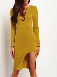 Yellow Long Sleeve Split Hollow Dress