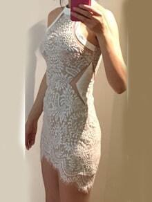 White Crew Neck Lace Bodycon Dress