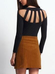 Black Round Neck Long Sleeve Backless T-Shirt