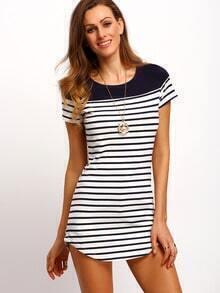 White Striped Panel Long T-Shirt