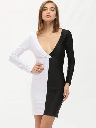Colour-block Deep V Neck Skinny Dress