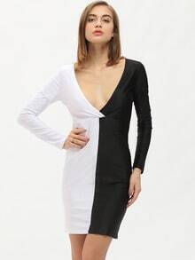 Colour-block Deep V Neck Skinny Dress