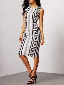 Sleeveless Crew Neck Tribal Print Sheath Dress