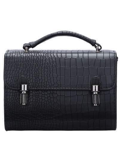 Black Push Lock PU Shoulder Bag