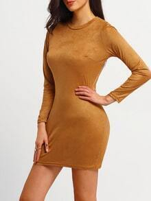 Yellow Long Sleeve Slim Bodycon Dress