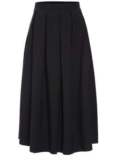 Black Button Long Skirt