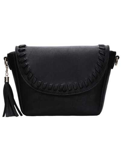 Black Braided Fringe PU Bag