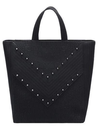 Black Zipper Rivets PU Shoulder Bag