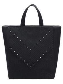 Black Zipper Rivets PU Shoulder Bag