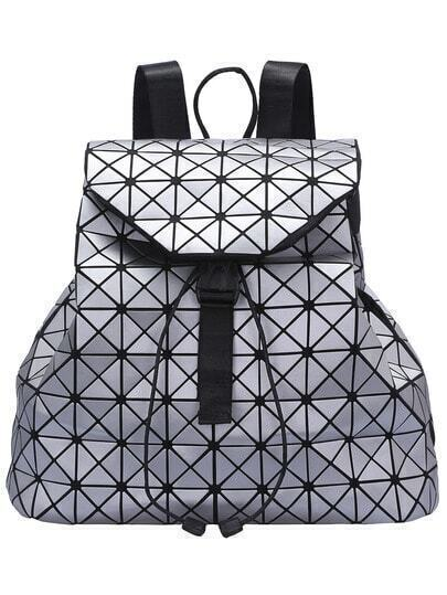 Silver Geometry Print Drawstring Backpack