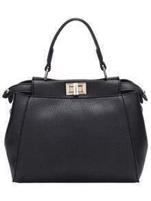 Black Twist Lock PU Shoulder Bag