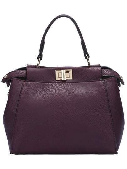 Burgundy Twist Lock PU Shoulder Bag