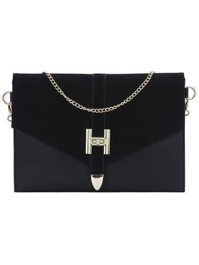 Black Twist Lock Chain Clutch Bag