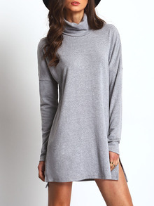 Grey High Neck Side Slit Dress