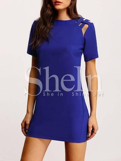 Blue Short Sleeve Cut Out Dress