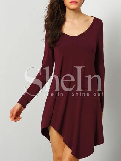 Round Neck Asymmetrical Dress