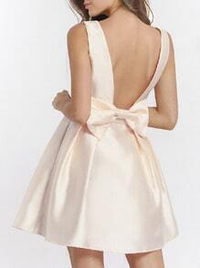 Apricot Braces Poplin Beige Sleeveless Backless With Bow Dress