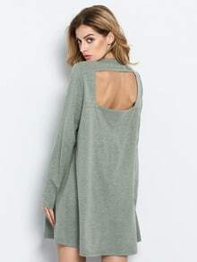 Green Long Sleeve Backless Casual Dress