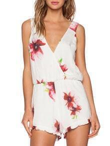 White V Neck Floral Print Playsuit