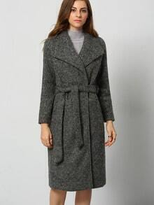 Grey Lapel Pockets Coat