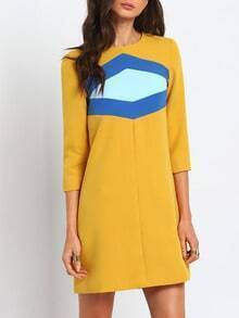 Yellow Round Neck Color Block Dress