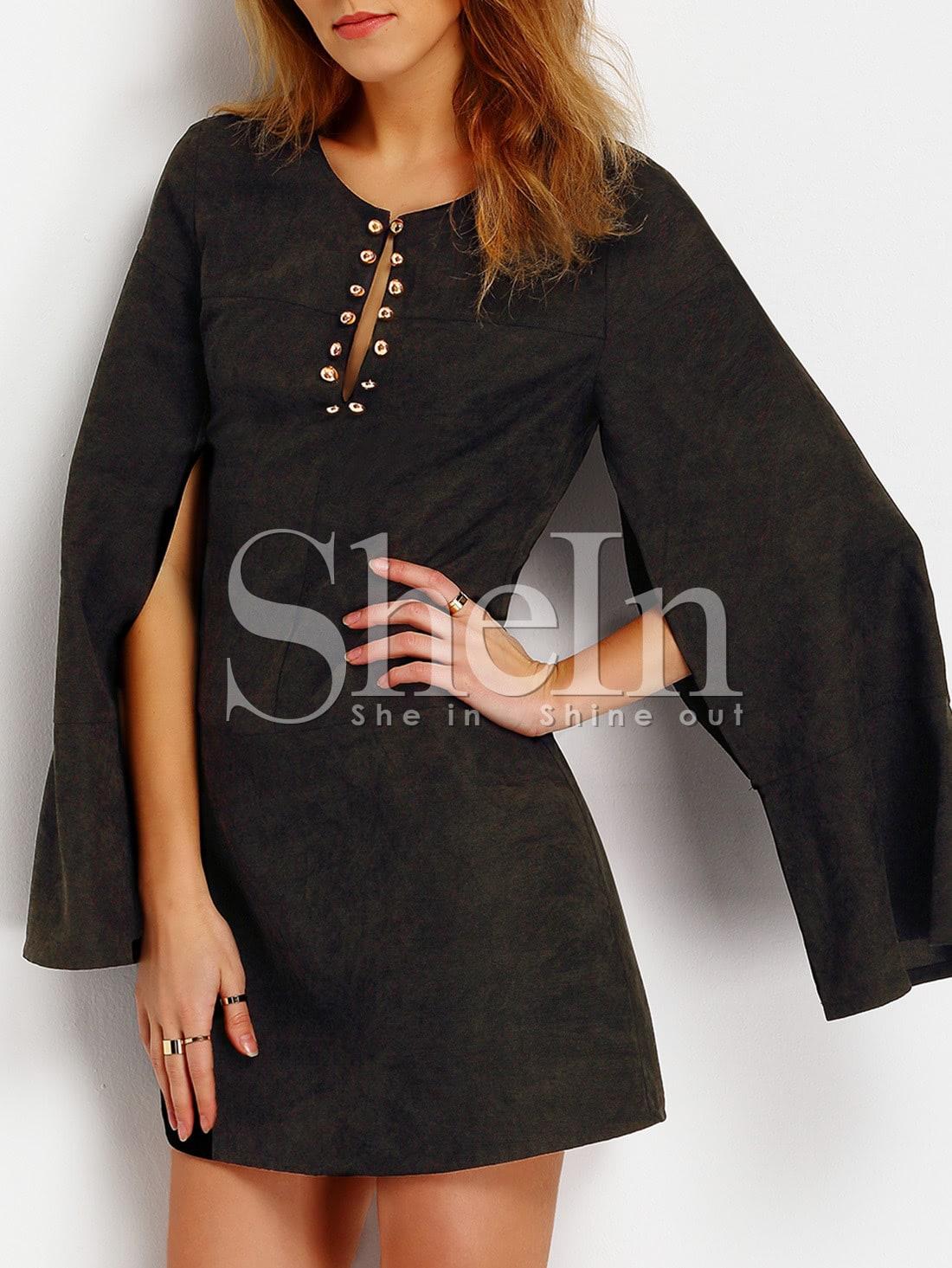 Фото Black Cape Sleeve Embellishment Dress. Купить с доставкой