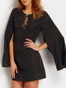 Black Cape Sleeve Embellishment Dress