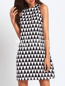 Black White Sleeveless Triangle Dress