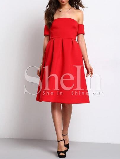 Red Short Sleeve Off The Shoulder Dress