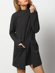 Black Mock Neck Pockets Dress