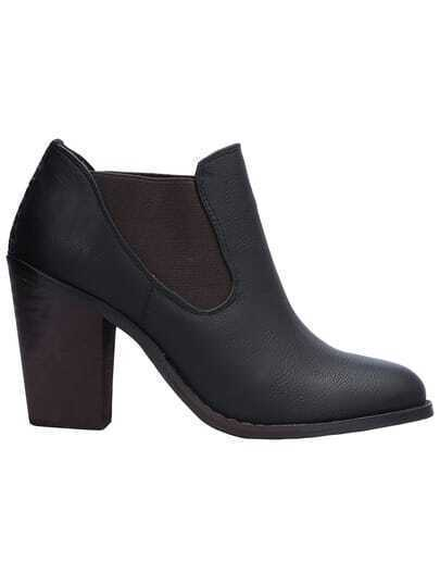 Black Elastic High Heeled Boots