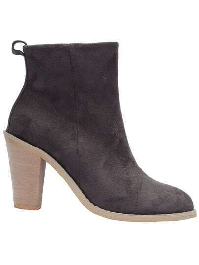 Grey Pointy High Heeled Boots