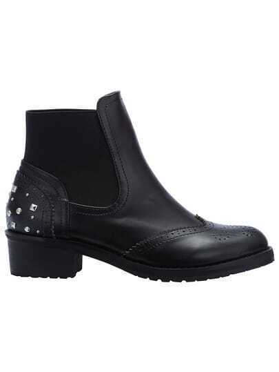 Black Studded Pierced Boots