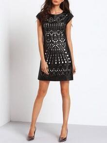 Black Cap Sleeve Color Block Cut Out Dress